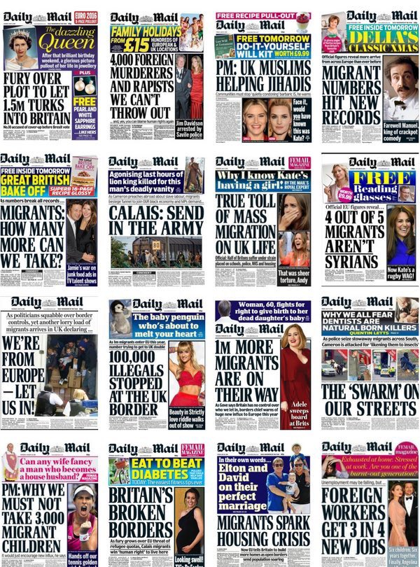Image result for daily mail immigration front pages