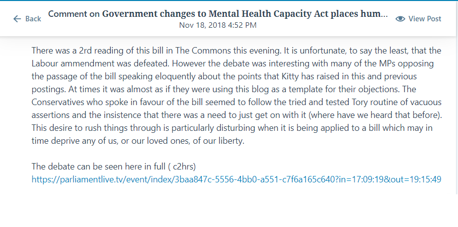 comment mental Health bill