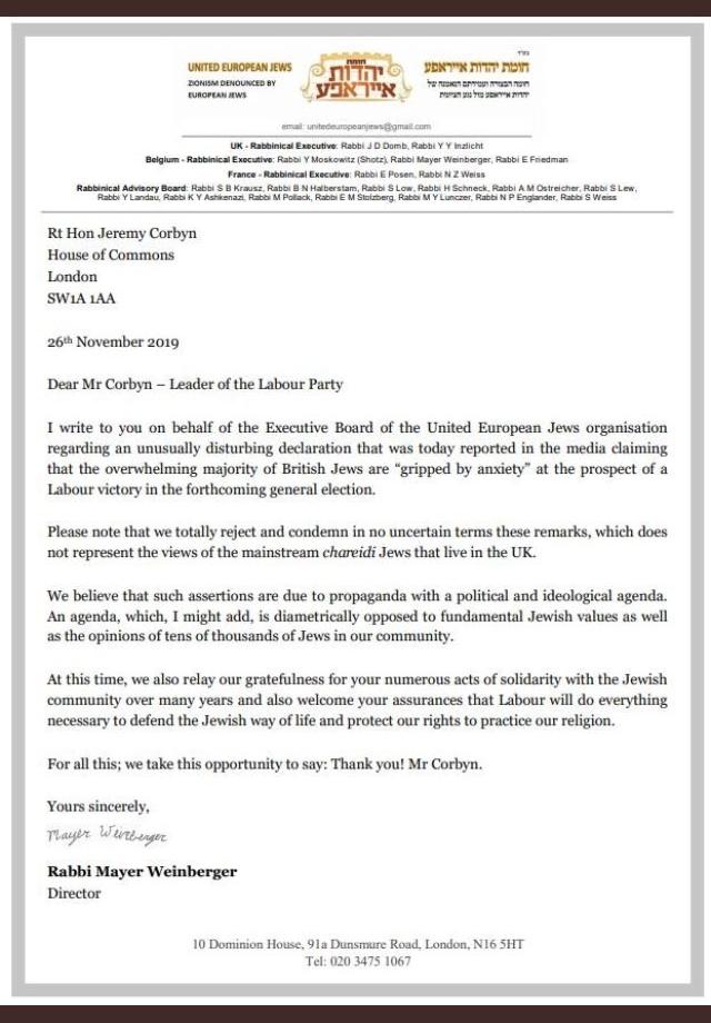 Letter corbyn